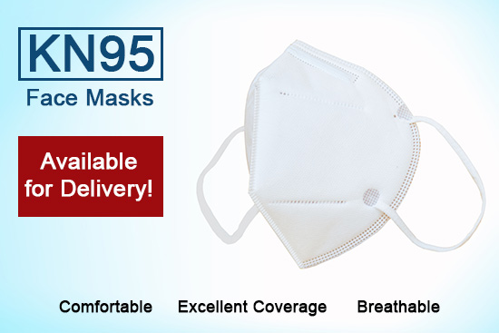 photo of KN95 face mask and advertising text